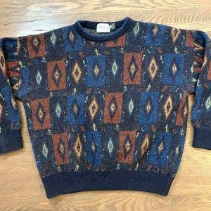 Vintage 100% Wool Southwest Sweater Aztec Large